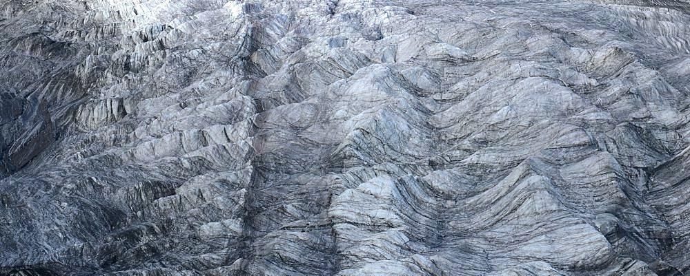Glacier ice flow shapped by wind