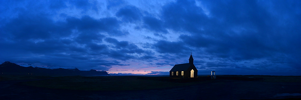 Sunrise at the black church of Budir