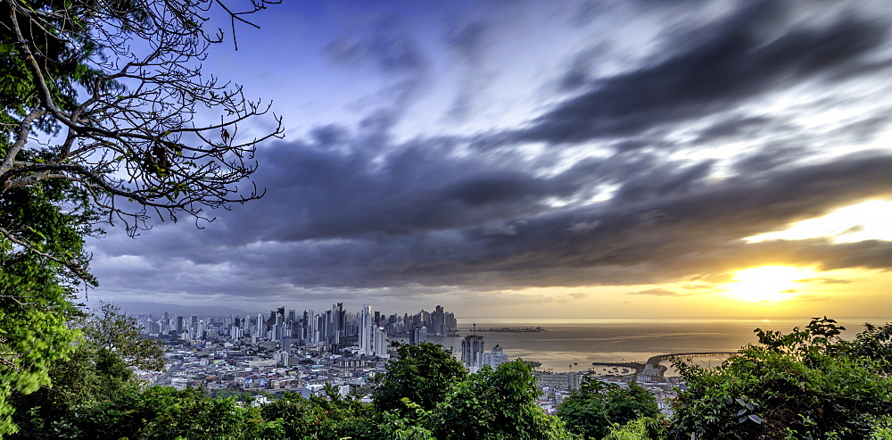 Sunrise long-exposure of Panama City from Reserva Cerro Ancon Park, Panama City, Panama