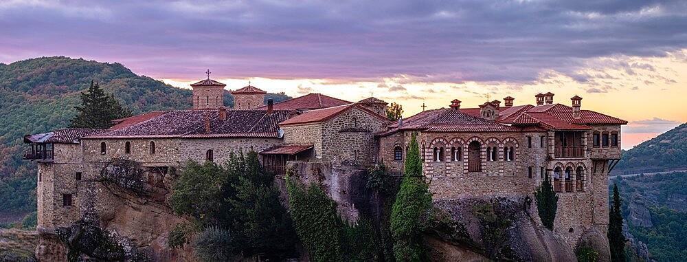 Panoramic on Varlaam monastery at sunrise, Meteora, Thessaly, Greece - 1336-152
