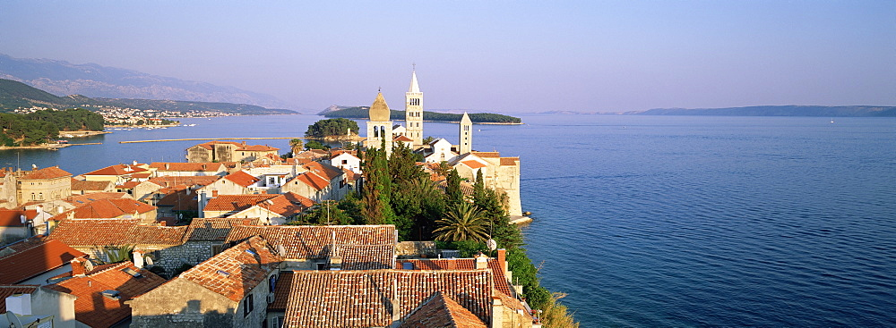 Elevatred view of medieval Rab Bell Towers and town, Rab Town, Rab Island, Dalmatia, Dalmatian Coast, Croatia, Europe