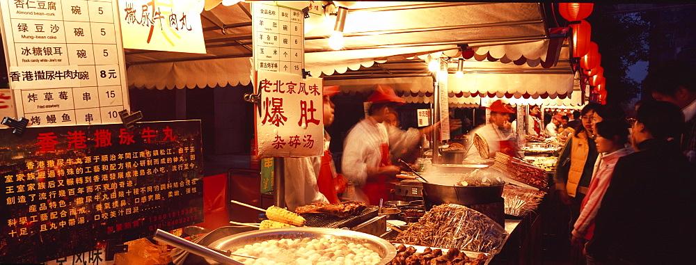 Food stalls, Donghua Yeshi night market, Beijing, China, Asia