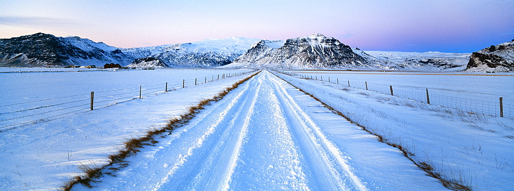 Road and mountains near Vik in winter, Iceland, Polar Regions - 252-11432
