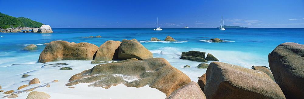 Tropical beach scene, Anse Lazio, Praslin, Seychelles, Indian Ocean, Africa