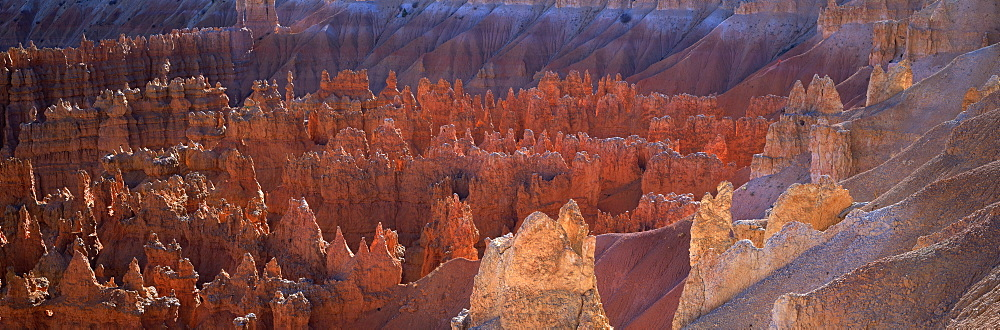 Backlit hoodoos and Thor's Hammer in evening light, Bryce Canyon National Park, Utah, United States of America, North America