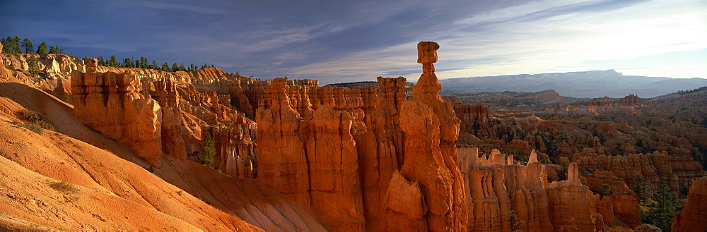 Backlit hoodoos and Thor's Hammer at sunrise, Bryce Canyon National Park, Utah, United States of America, North America