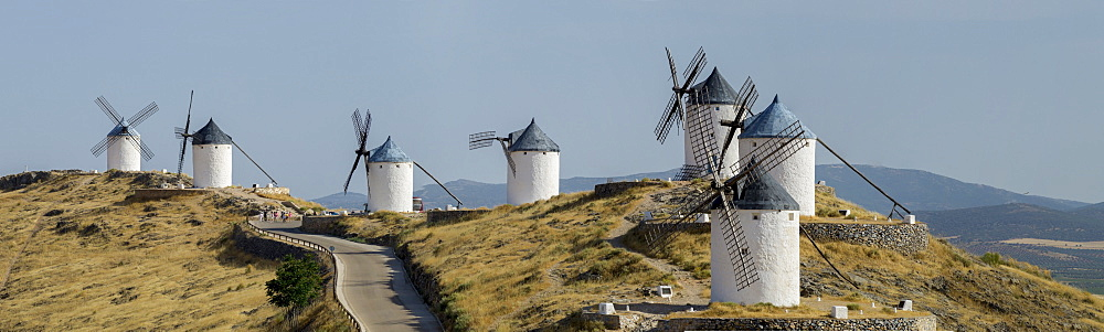 Don Quixote windmill panorama, Consuegra, Castile-La Mancha, Spain, Europe - 367-6053