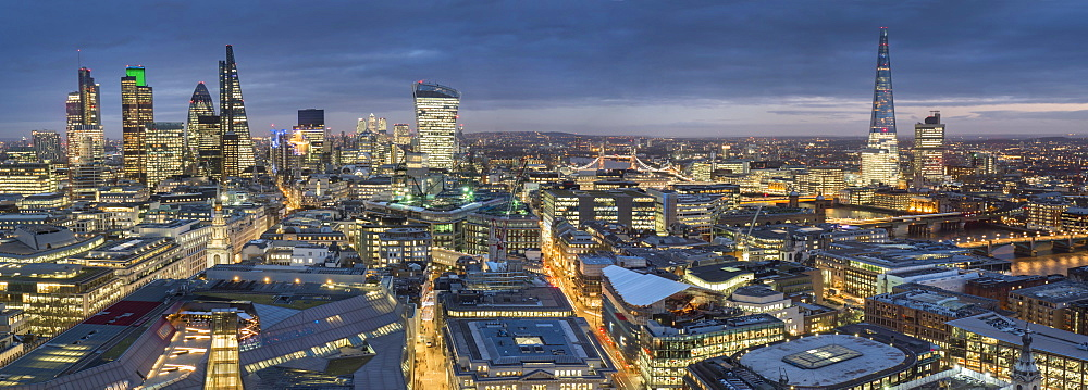 City panorama at dusk, London, England, United Kingdom, Europe - 367-6085