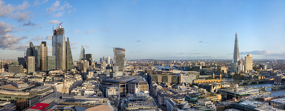 Panorama of the City of London and The Shard, London, England, United Kingdom, Europe