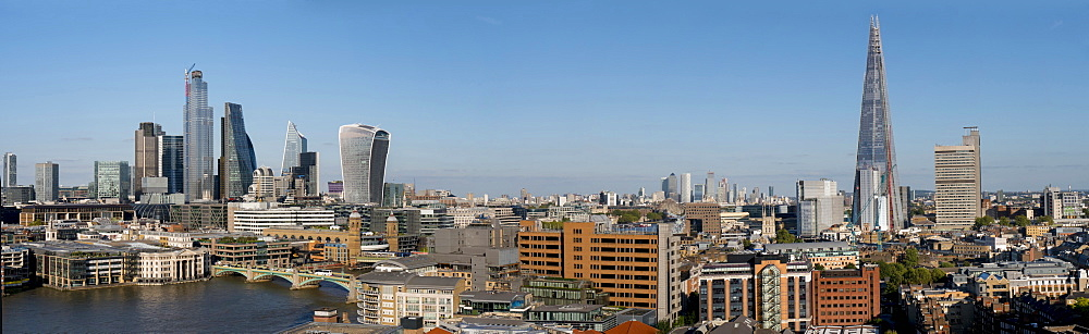 Panoramic view of the City with Southwark Bridge and the Shard, London, England, United Kingdom, Europe
