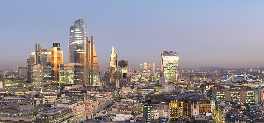 City of London, Square Mile, panorama shows completed 22 Bishopsgate tower, London, England, United Kingdom, Europe - 367-6284