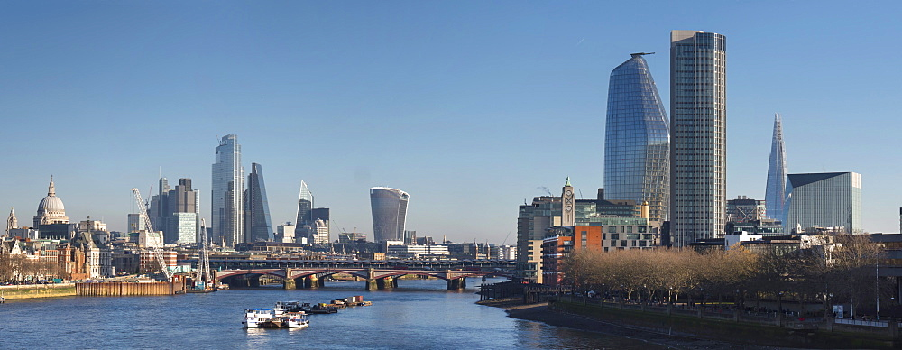 City of London, Square Mile, panorama shows completed 22 Bishopsgate tower, London, England, United Kingdom, Europe - 367-6288