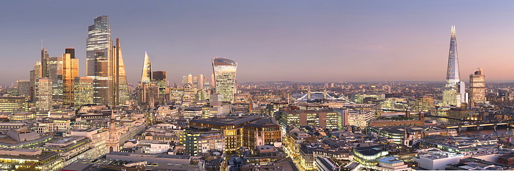 City of London, Square Mile, panorama shows completed 22 Bishopsgate tower, London, England, United Kingdom, Europe - 367-6289