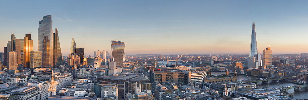City of London, Square Mile, panorama shows completed 22 Bishopsgate tower, London, England, United Kingdom, Europe - 367-6290