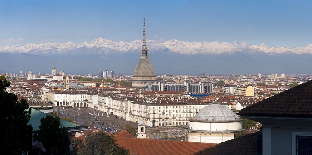 Panorama of Mole Antonelliana and Gran Madre di Dio church, Turin, Piedmont, Italy, Europe