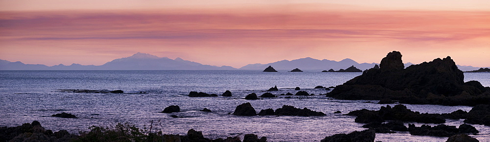 View of Kaikoura Ranges from Wellington at sunset in New Zealand, Oceania - 489-1792