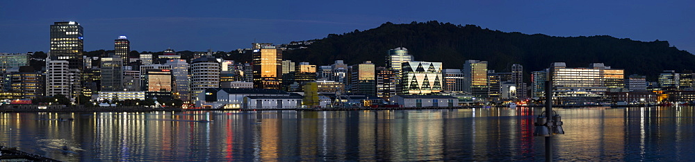 Panorama of Wellington city and waterfront at dawn, Wellington, North Island, New Zealand, Pacific - 489-1803