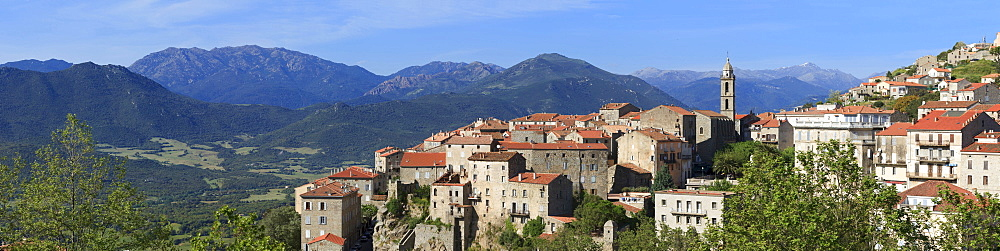 Sartene, panoramic view of town with mountains behind, Corsica, France, Europe - 526-3844