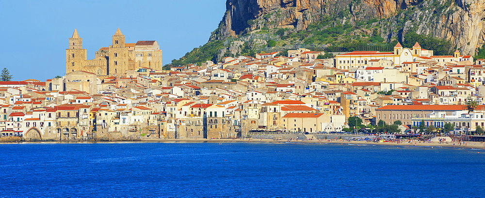 Old town, cathedral and cliff La Rocca, Cefalu, Sicily, Italy, Mediterranean, Europe - 718-2163