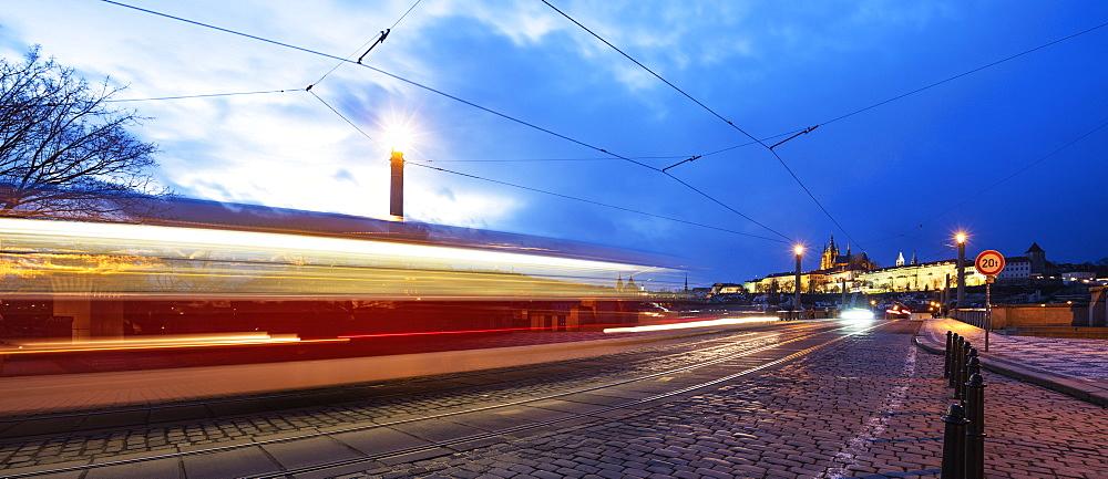 Tram lights, Prague Castle, Prague, Czech Republic, Europe