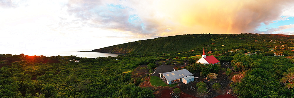 Aerial view of Kahikolu Congregation Church, Kealakekua Bay, Big Island, Hawaii, United States of America, North America