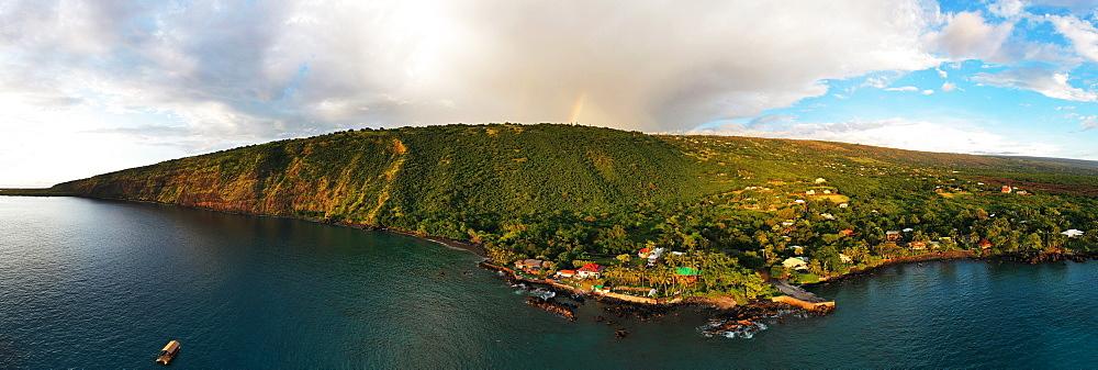 Aerial view of Kealakekua Bay, Big Island, Hawaii, United States of America, North America