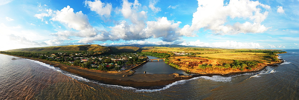Aerial by drone of Waimea, Kauai Island, Hawaii, United States of America, North America