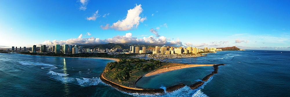 United States of America, Hawaii, Oahu island, Honolulu, Waikiki, aerial view of Diamond Head (drone) - 733-8984