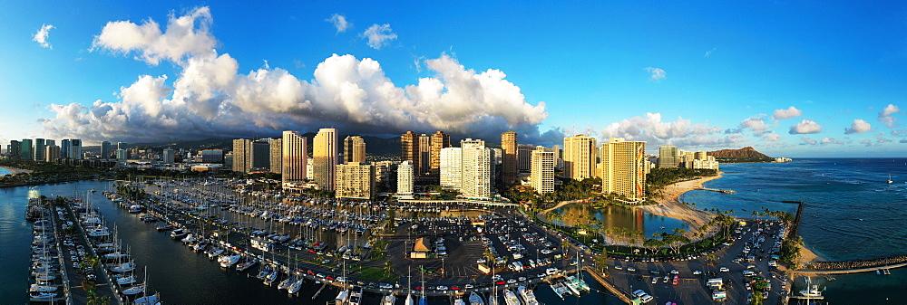 United States of America, Hawaii, Oahu island, Honolulu, aerial view of Waikiki (drone) - 733-8986