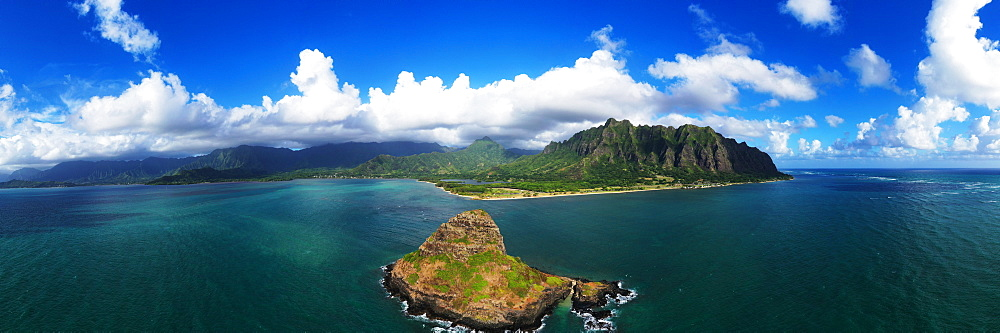 Aerial view by drone of Kaneohe Bay and Mokolii island (Chinaman's Hat), Oahu Island, Hawaii, United States of America, North America - 733-8991