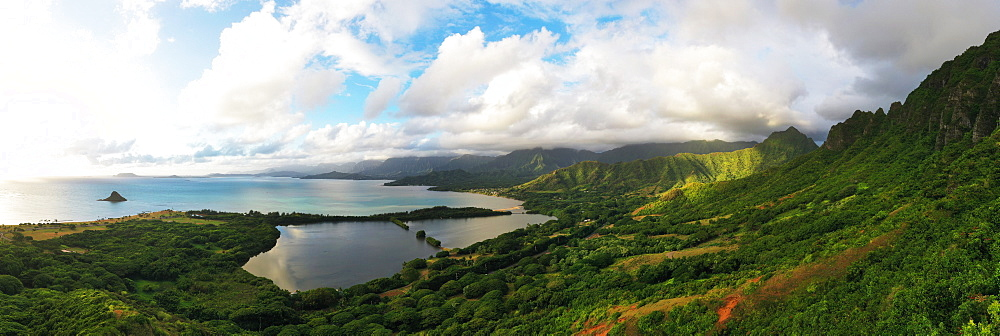 Aerial view by drone of Kaneohe Bay, Oahu Island, Hawaii, United States of America, North America - 733-8996