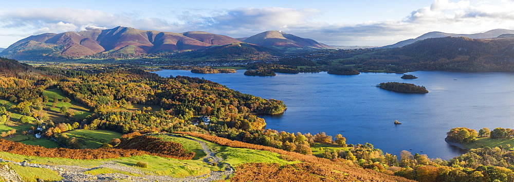 United Kingdom, England, Cumbria, Lake District National Park, Derwent water and Skiddaw mountains beyond - 794-4561