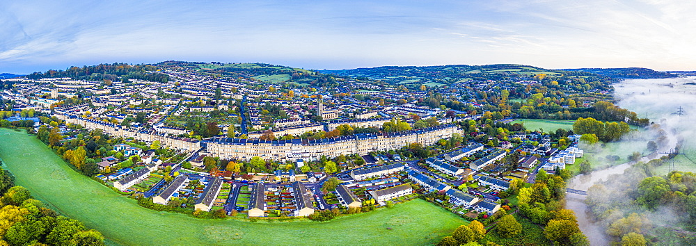 Panoramic view by drone over Bath, Somerset, England, United Kingdom, Europe