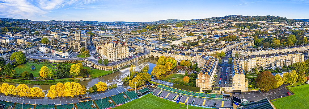 Aerial view by drone of Bath city center and River Avon, Bath, Somerset, England, United Kingdom, Europe