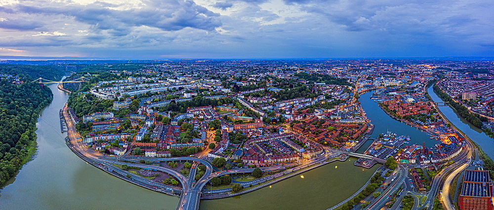 Aerial view over the Avon Gorge, Clifton, Hotwells and city centre, Bristol, England, United Kingdom, Europe
