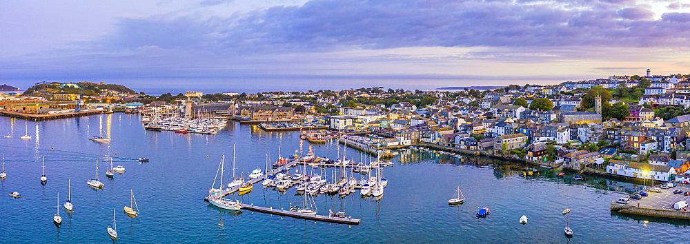 Aerial view over the Penryn River and Falmouth, Cornwall, England, United Kingdom, Europe