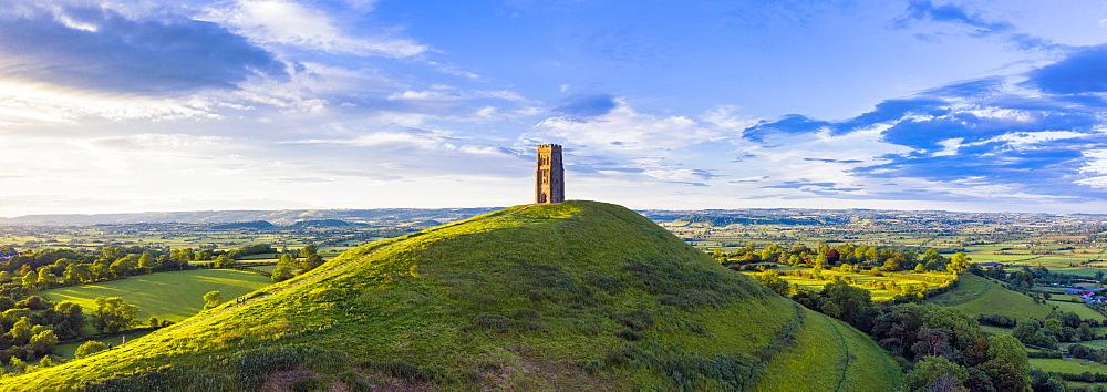 St. Michael's Church Tower on Glastonbury Tor, Glastonbury, Somerset, England, United Kingdom, Europe
