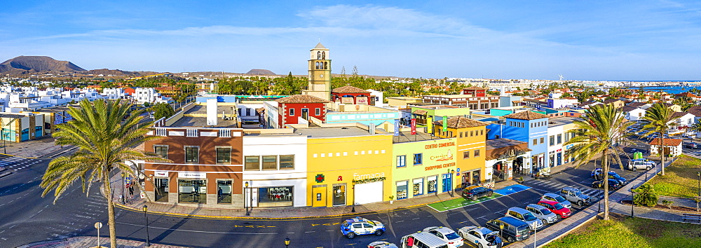 Colourful buildings in Corralejo, Fuerteventura, Canary Islands, Spain, Atlantic, Europe