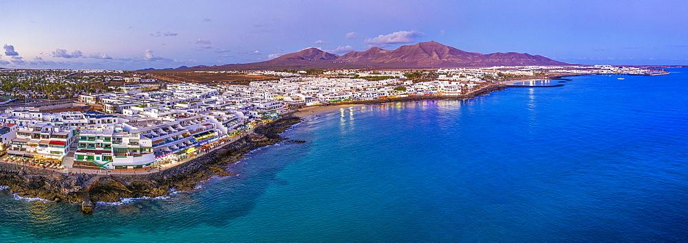 Playa Blanca at dusk, Lanzarote, Canary Islands, Spain, Atlantic, Europe