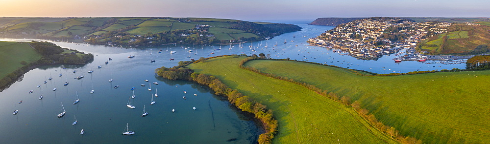 Aerial view by drone of Kingsbridge Estuary and Salcombe in Devon, England, United Kingdom, Europe