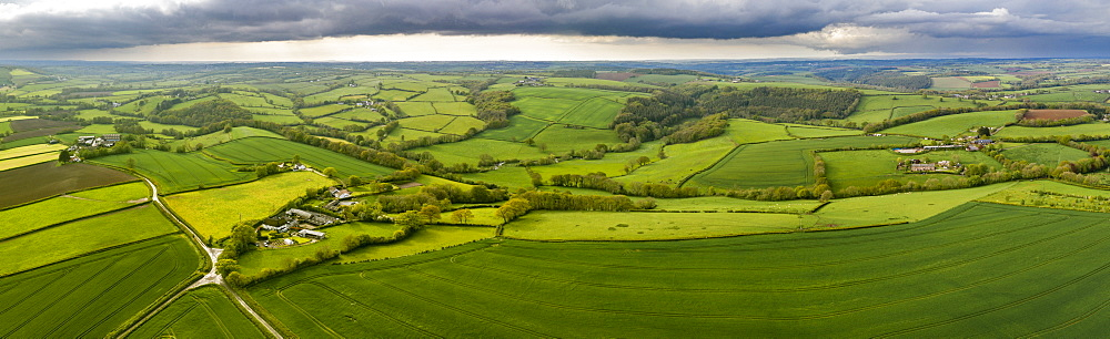 Aerial vista of rolling countryside near the village of Coldridge, Devon, England, United Kingdom, Europe