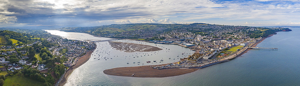 Aerial vista of Teignmouth and the River Teign, Devon, England, United Kingdom, Europe