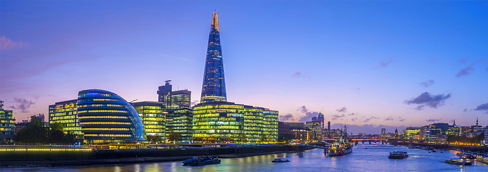 The Shard and City Hall by River Thames, Southwark, London, England, United Kingdom, Europe - 828-1123