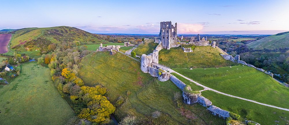 View by drone of Corfe Castle, Dorset, England, United Kingdom, Europe
