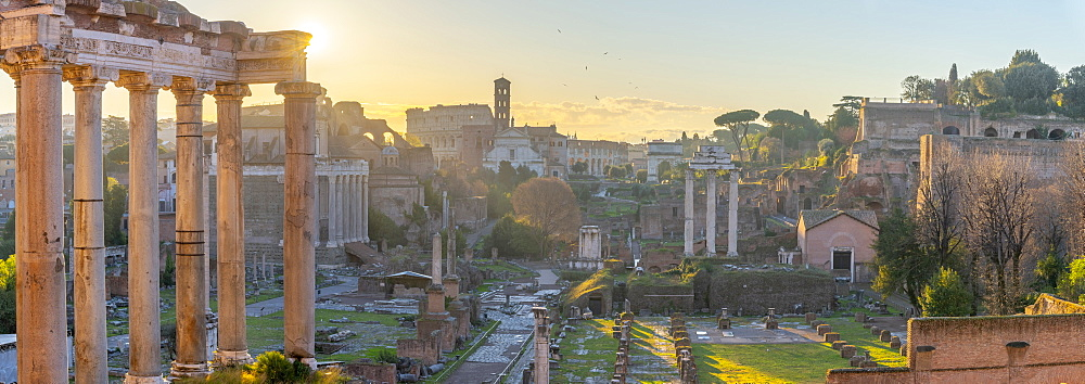 Forum at sunrise, UNESCO World Heritage Site, Rome, Lazio, Italy, Europe