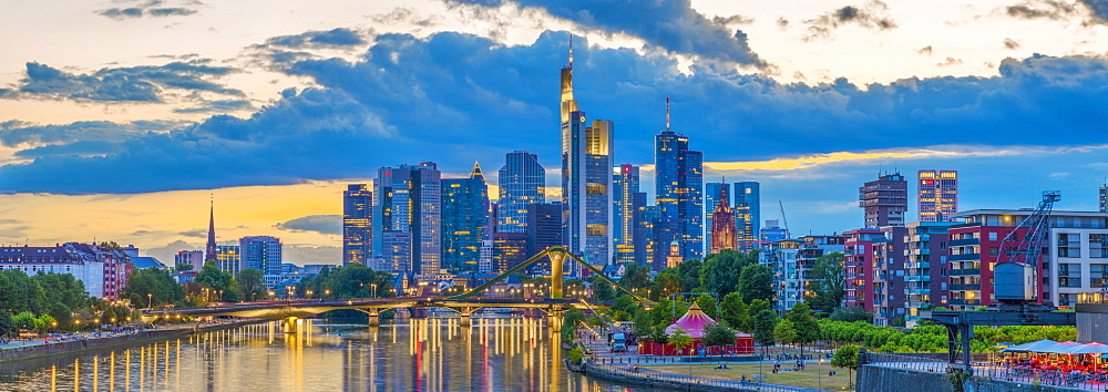 City skyline and River Main, Frankfurt am Main, Hesse, Germany, Europe