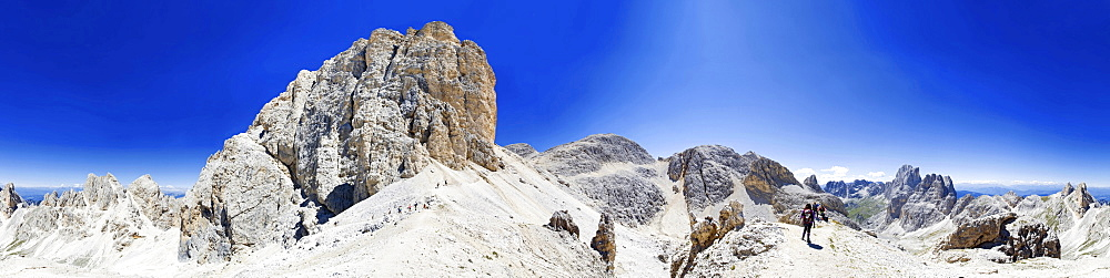 360° panorama of the Kesselkogel, Catinaccio group, dolomites, Italy