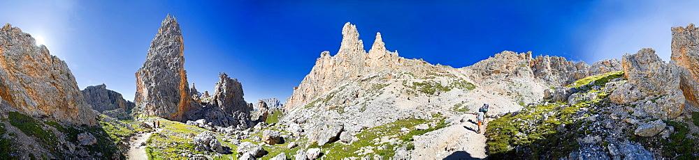 360° panorama view at the col Cir, in Puez Geisler National Park, Sëlva, Selva, Val Gardena, Gardena Valley, Groednertal, South Tyrol, Italy, Europe