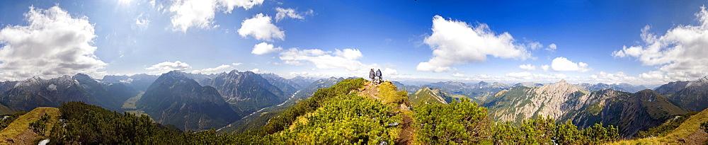 360 ° panoramic view of the summit of Mt Kompar in Engtal Valley, Karwendel, Austria, Europe