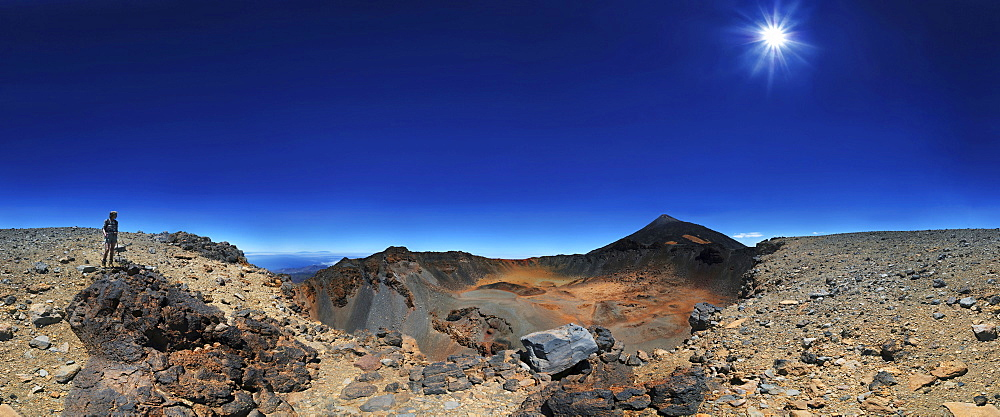 360 ° panorama of the Pico Viejo volcano and Pico del Teide mountain with a woman standing at the edge of a crater, Teide National Park, Tenerife, Canary Islands, Spain, Europe